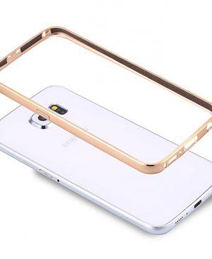 Ốp viền Samsung Galaxy A3 kim loại bo tròn chỉ vàng