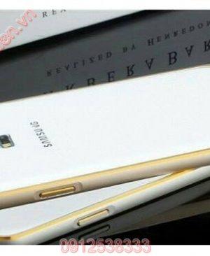 Ốp viền Samsung Galaxy Grand Prime G350 kim loại bo tròn chỉ vàng