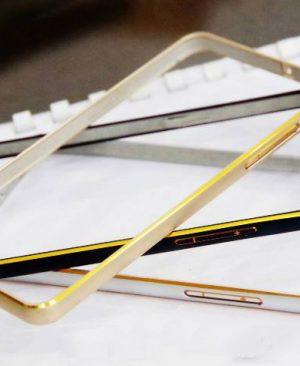 Ốp viền Samsung Galaxy J1 kim loại bo tròn chỉ vàng