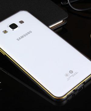 Ốp viền Samsung Galaxy J3 kim loại bo tròn chỉ vàng