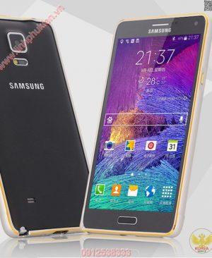 Ốp viền Samsung Galaxy Note 4 kim loại bo tròn chỉ vàng