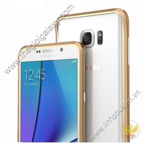 Ốp viền Samsung Galaxy Note 5 kim loại bo tròn chỉ vàng