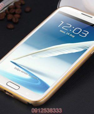 Ốp viền Samsung Galaxy S5 kim loại bo tròn chỉ vàng
